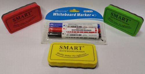 3x Whiteboard magnetisch Schwamm 3x Stift  für Weißwandtafel Eraser Löscher