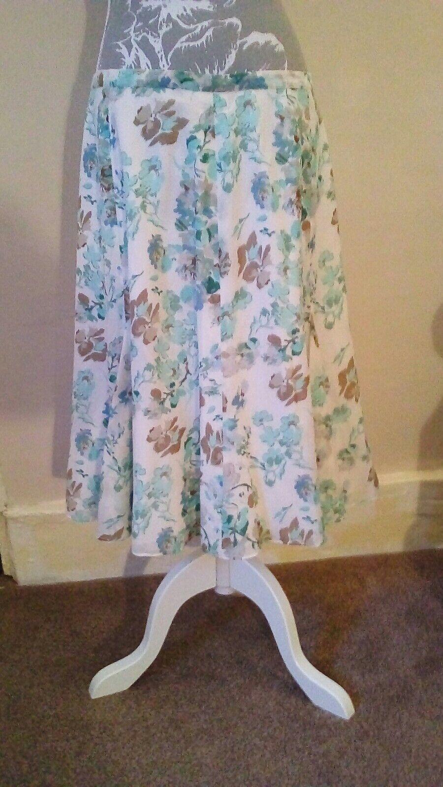MADELEINE silk cotton skirt aqua white size 16