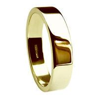 Sale 8mm 9ct Yellow Gold Heavy 9.2g Men's Flat Wedding Rings Uk Hm W. 11 1/8
