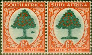 South-Africa-1937-6d-Green-amp-Vermilion-SG61b-Molehill-Variety-Fine-MNH