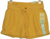 Sonoma Life Style Womens Misses Modern Fit Yellow Belted Shorts