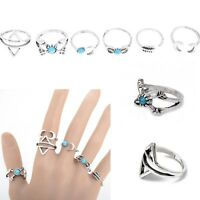 6Pcs/1 Set Silver Plated Ethnic Style Boho Arrow Moon Midi Finger Knuckle Rings