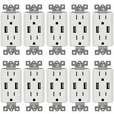 10 Pack TOPGREENER Electrical Wall Outlet with USB Charger 15A Receptacle White