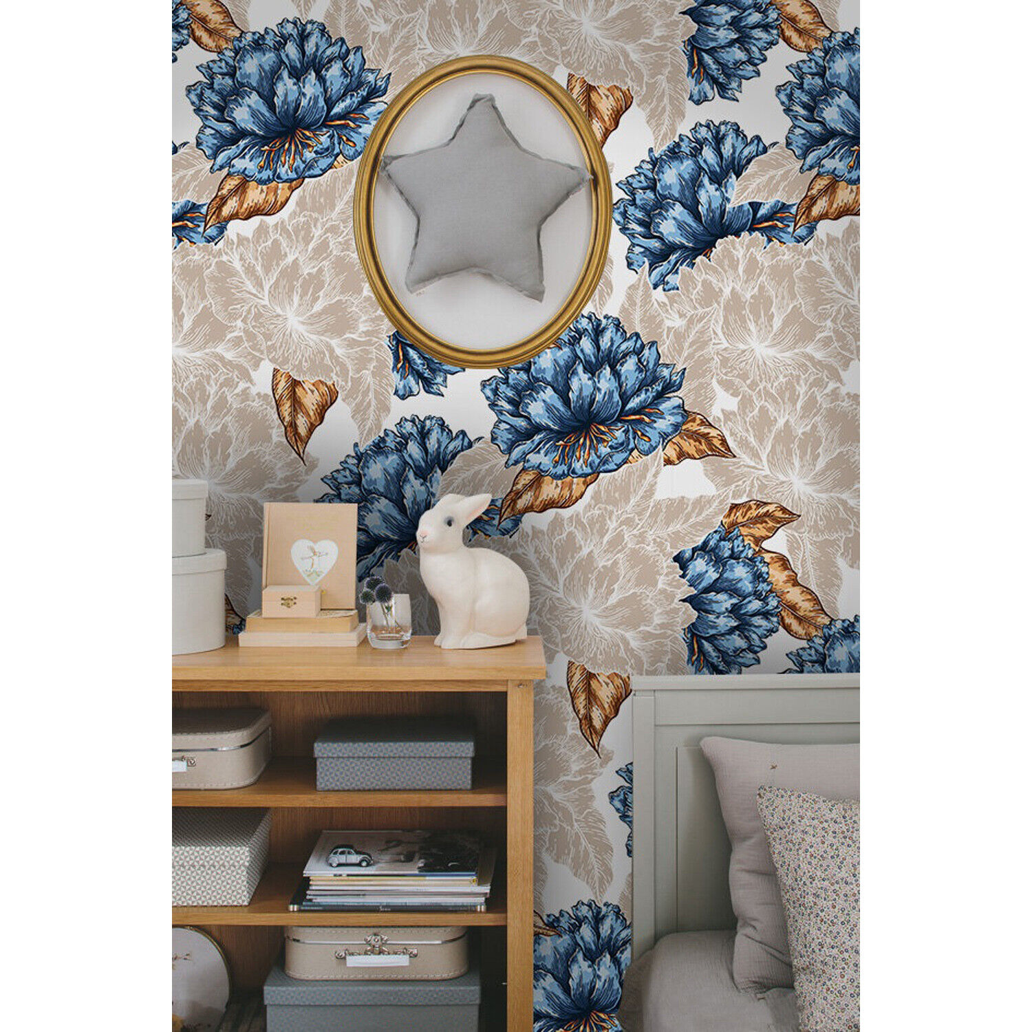 Graphic flower Removable wallpaper Blau and Golden wall mural large