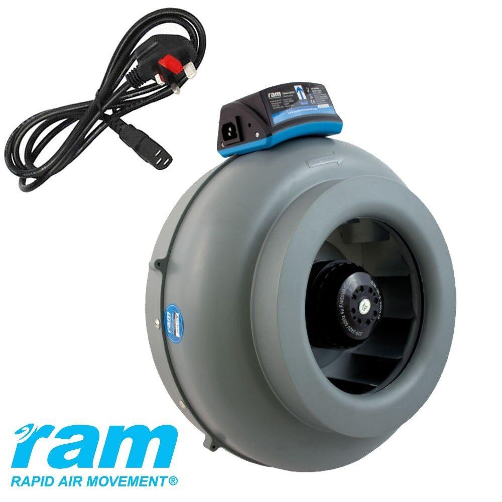 RAM en Línea Ventilador de Tubo Extractor 4  5  6  8  hasta 1088 m3 hr Hidroponía enchufe de Reino Unido