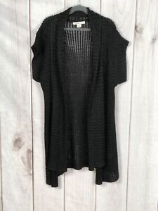 Coldwater-Creek-Womens-Black-Crochet-Short-Sleeve-Open-Cardigan-Sweater-Size-XS