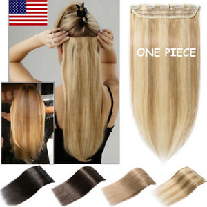 One-Piece-100-Remy-Clip-In-Human-Hair-Extensions-3-4-Full-Head-Weft-DIY-US-B423