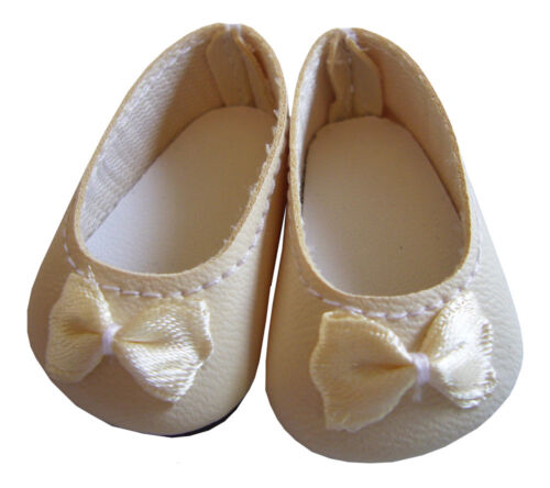 "Doll Clothes fits American Girl Ivory Ballet Flats Shoes 14/"" WELLIE WISHERS"