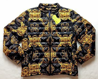 Versace Jeans Men Jacket Gold Baroque Eider Down Fashion Luxuy Puffer Coat Large