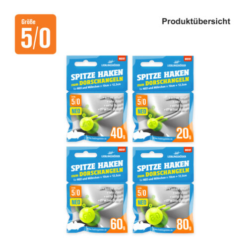 UV-Aktiv Lieblingsköder Spitze Haken 5//0-80g Jigkopf Haken zum Dorschangeln