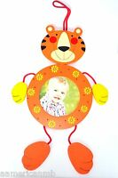 Baby Boy Girl Wooden Photo Frame Tiger Orange Yellow Flower Hang On Wall Picture