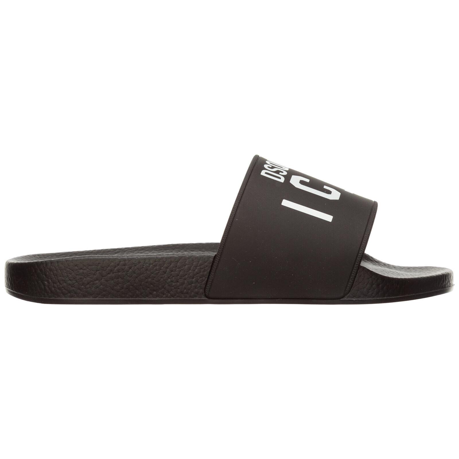 Dsquarot2 mule homme icon FFM0007172000012124 caoutchouc schwarz slip on chaussure