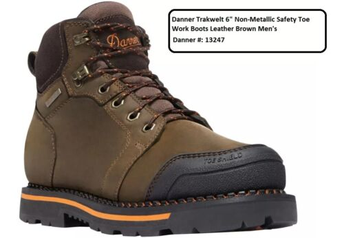 """Danner Trakwelt 6/"""" Non-Metallic Safety Toe Work Boots Leather Brown Men/'s"""