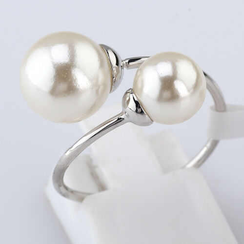 A1-R3140 Fashion 10 mm//8 mm Double Perles Wrap Ring 18KGP Taille 5.5-9