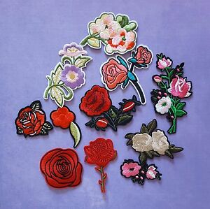 Embroidered Flowers / Iron On Flower / Sew On Patches Badges / Iron on Patches