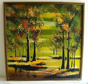 c roberts oil or acrylic painting landscape trees ebay