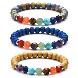Details About 7 Chakra Bracelet Multi Faceted Natural Stone Beads Charm Bracelets Yoga Jewelry