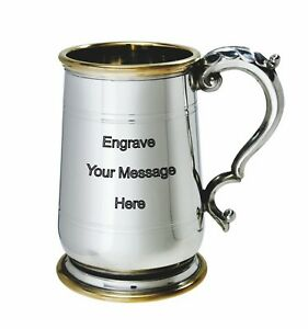 NEW-Personalised-1-Pint-Hallam-Polished-Pewter-Tankard-Any-Message-Engraved