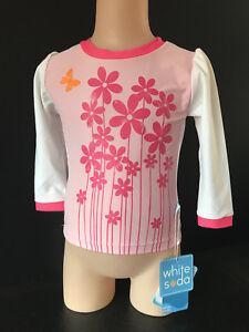 BNWT Girls Sz 7 Target Brand Cute Fluro Stripes Short Sleeve Rash Vest UPF 50+