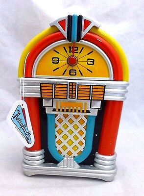 """Home & Garden Nice Retroflection By Giftcraft """"rock Around The Clock"""" Standing Jukebox Clock New!! Easy To Lubricate"""