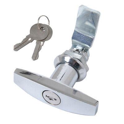 Sperren Sicherheit Silber T-Griff Garagentor Schloss mit 2 Schloss für Boot x1