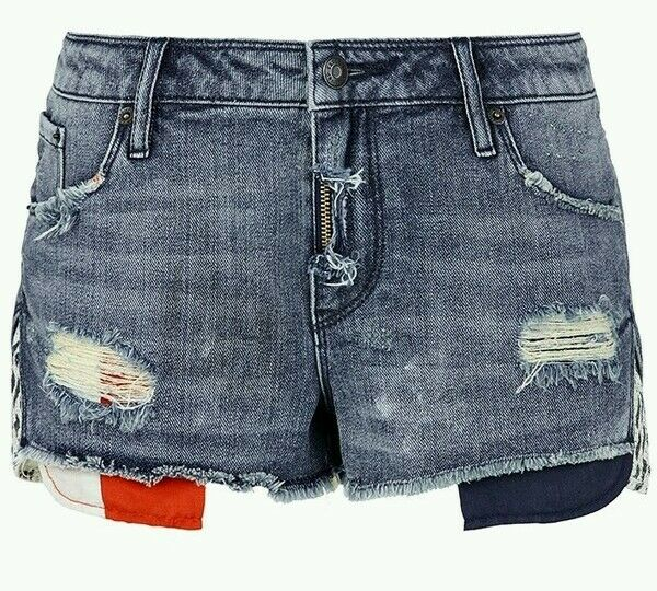 Sass & Bide THE PARTY GIRL Distressed Denim Shorts Size 28 Rrp  280