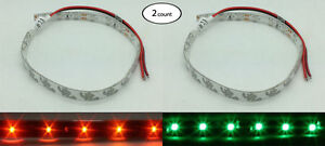 Pactrade Marine 2 Pairs  12V DC Red Green LED  Strip Light Kayak Canoe Pontoon