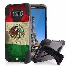 For Galaxy S8 Hybrid Armor Tough Silicone Shell Kickstand Case Mexican Flag
