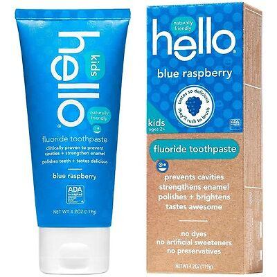 Hello Kids Fluoride Toothpaste, Blue Raspberry 4.2 oz