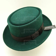 Wool Felt Pork Pie Flat Top Hat Men Unisex | 57cm | Green | VINTAGE x QUALITY