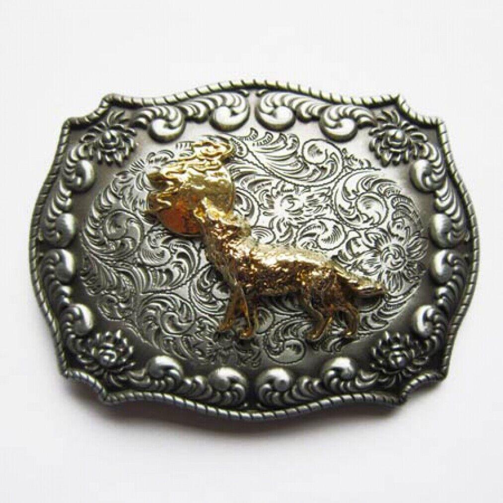 Buckle mit Wolf und Mond, 24 ct. Goldauflage, Western, Gürtelschnalle