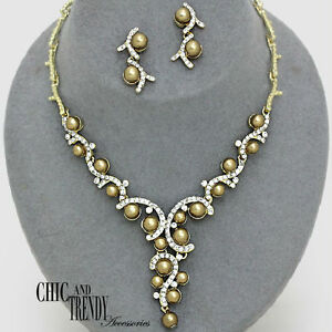 STUNNING GOLD PEARL /& CRYSTAL WEDDING FORMAL NECKLACE JEWELRY SET CHIC /& TRENDY