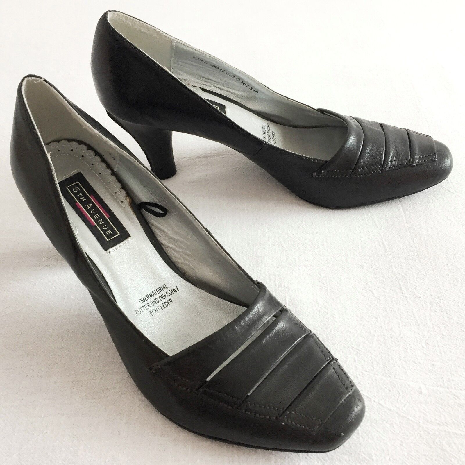 5th Avenue Damen Pumps Echtleder Schuhe Business Ferse Schwarz 8 38