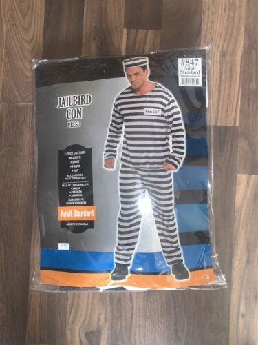 JAILBIRD ADULT PRISONER CONVICT STRIPPED BLACK & W
