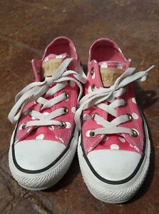 554b12af6a7e92 Converse All Star Chucks Low Top Womens Sz 5 Pink Polka Dot Sneakers ...