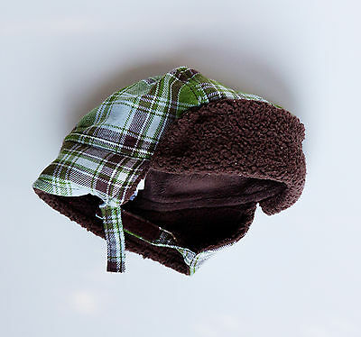 GYMBOREE LITTLE MILKMAN GREEN PLAID FUR TRAPPER LINED HAT 0 3 6 12 18 24 NWT
