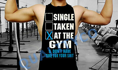 Men's Single Taken At The Gym Black Workout Bodybuilding Vest Tank Top Funny