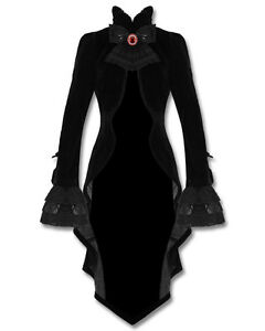 Punk-rave-gothique-veste-manteau-velours-noir-vampire-knight-lace-bustle