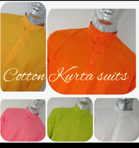 Indian-Traditional-Cotton-Men-039-s-Designer-Casual-Wear-Kurta-Pyjama-Suit-Colours