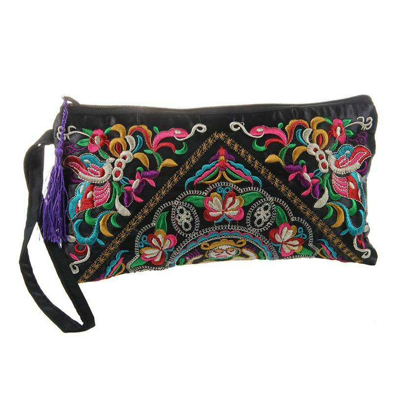 New Women Wallet Embroider Purse Clutch Mobile Phone Bag Coin Bag-butterfly I8J7