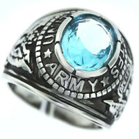 Us Army Military Mens Aquamarine Stone Silver 316ss Crown Top Ring