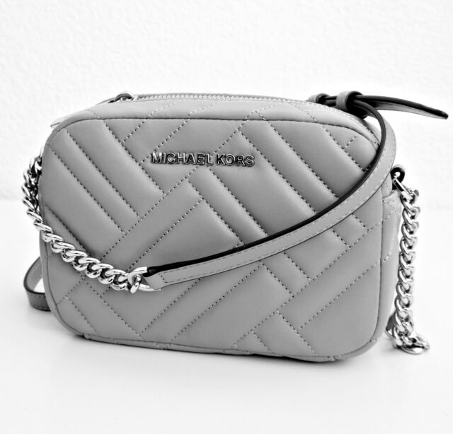 efc2c1bb9f2c2 Michael Kors Bag Handbag Vivianne Md Crossbody Quilted Leather Ash Grey New