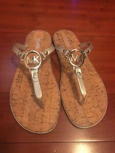 77a2f689379e5 NWT MICHAEL KORS Silver MK Logo Charm Jelly Cork Flip Flop Sandals ...