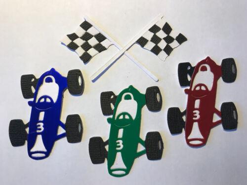 Bandera de coche de carreras de conducción F1 coches de Fórmula Uno padres día dado corta