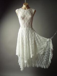 White Lace Handkerchief Hem Elegant Wedding Victorian Gown 143 Mv