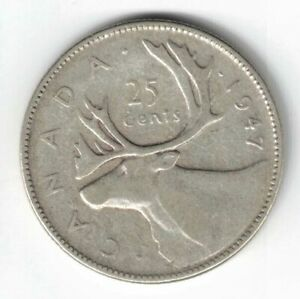 CANADA-1947-25-CENTS-QUARTER-KING-GEORGE-VI-CANADIAN-SILVER-COIN