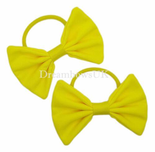 Plain yellow fabric hair bows Yellow hair accessories Bobbles or hair clips