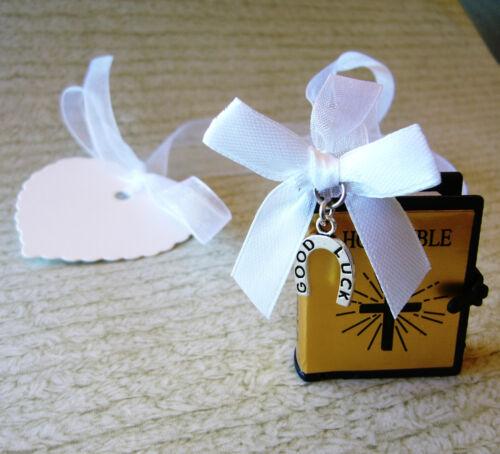 Wedding Good Luck Charm Horseshoe Bridal Miniature Bible 1st Holy Communion Gift