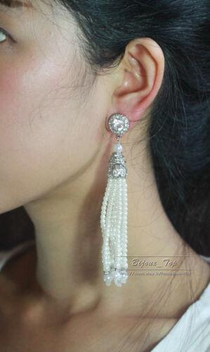 Boucles d`Oreilles Argenté Clous Tassel Perle Cristal Long Vintage Class XX 8
