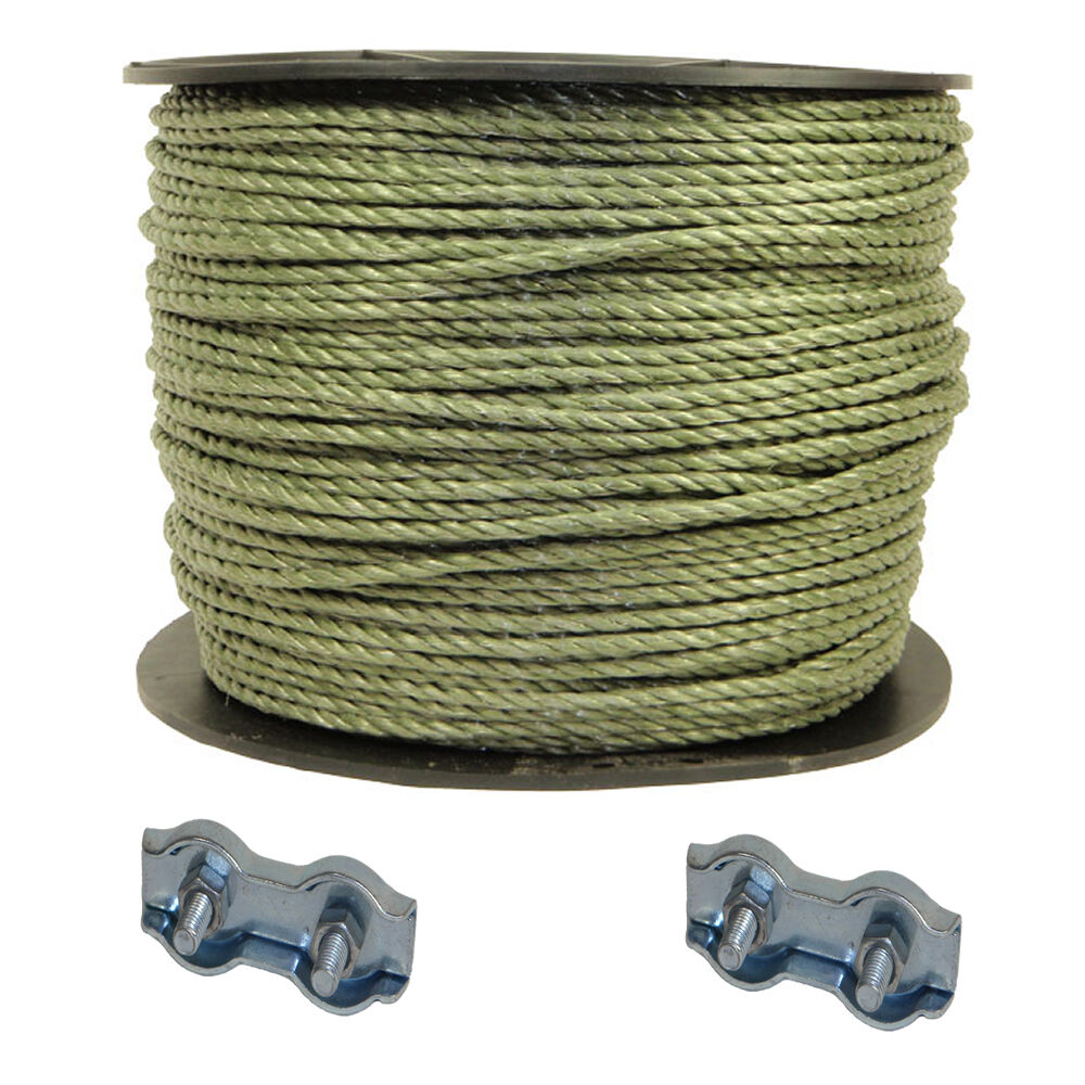 Electric Fencing 1 x 400 meters GREEN ROPE + 2 free ROPE conn FREE P+P